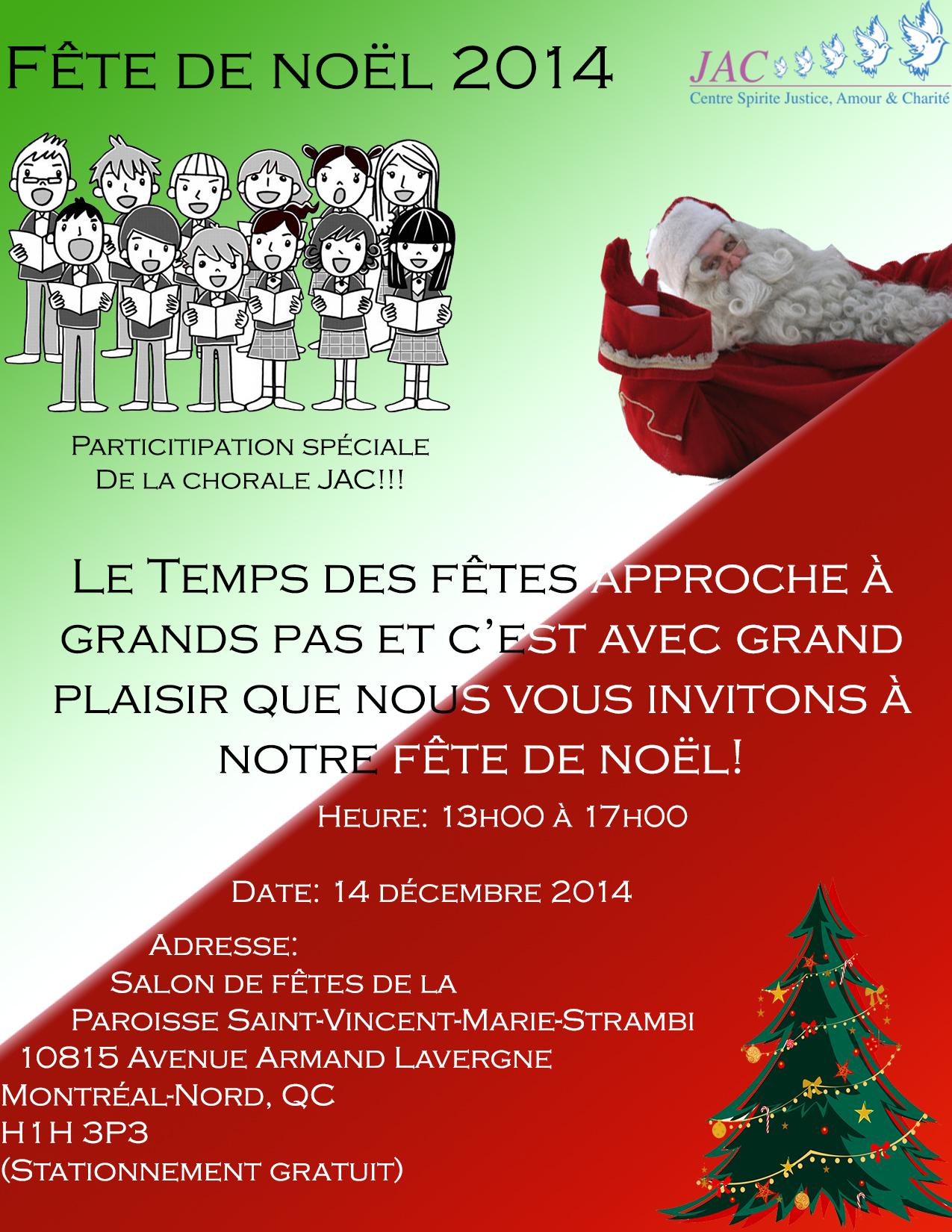 Invitation : Fête de Noël JAC - 2014.