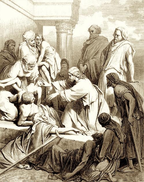 """Jésus guérit des malades. (Image gratuite disponible sur le livre """"Images de la Bible : Nouveau Testament"""", The Pepin Press, 2010.)"""